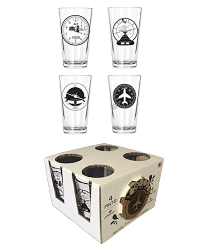 Aviation Clusters Pint Set. Gifts For Pilots