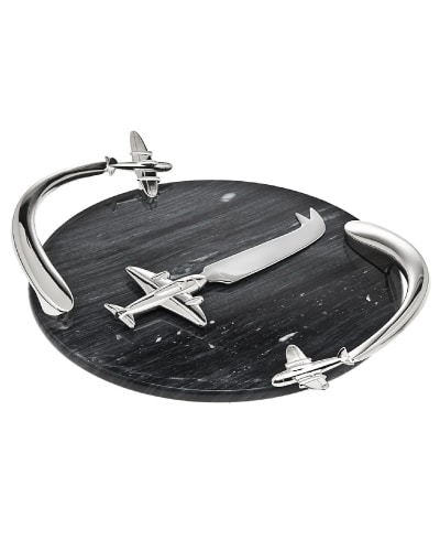 Godinger Airplane Marble Board with Knife - Gifts For Pilots