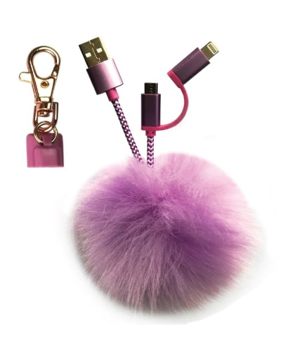 Pom Pom Keychain USB Cable. Electronics Gadgets Tech Gifts for Teens.