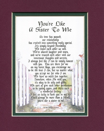 You're Like A Sister To Me Poem | sentimental gifts for best friends