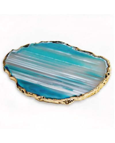Brazilian Agate Coaster With 24k Gold Plated Rim | Mint Green Kitchen Decor Ideas and Accessories