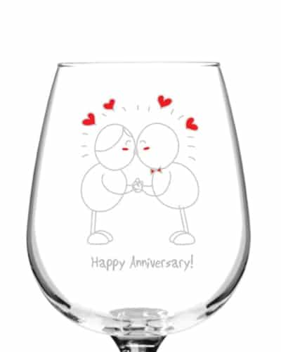 Happy Anniversary Wine Glass - Anniversary Gifts for Your Boyfriend