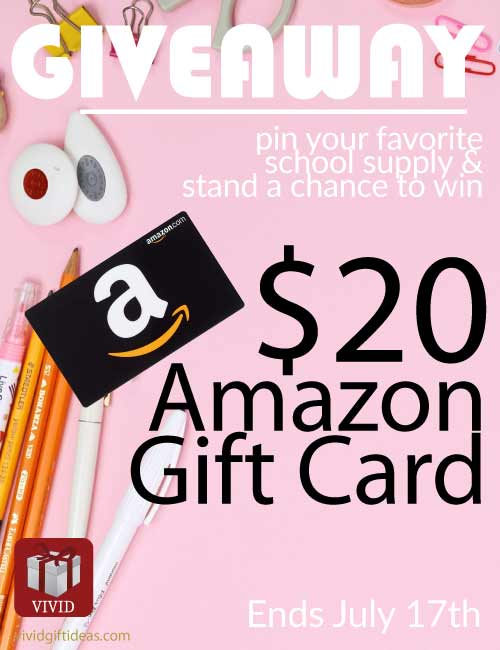 $20 Amazon Gift Card Giveaway. Stand a chance to win free gift card when you pin your favorite school supply. Enter the contest now. This is not a sweepstake as it requires your creativity to win. Find out more now.