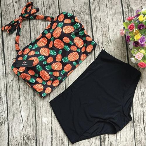 Cute Pineapple Print Bikini. Retro swimwear. Swimsuits trends.