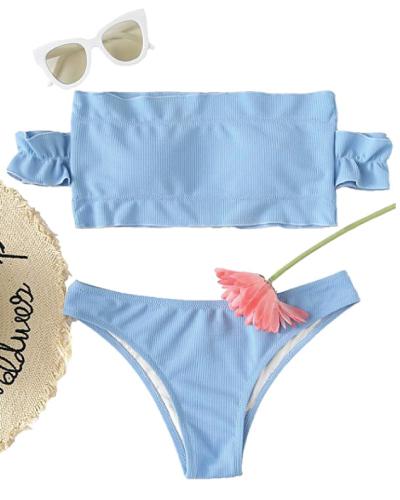 Off-the-Shoulder Pastel Blue Bikini
