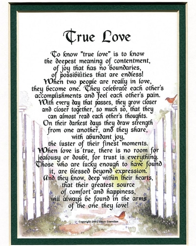 True Love Poem - Anniversary Gifts for Boyfriend