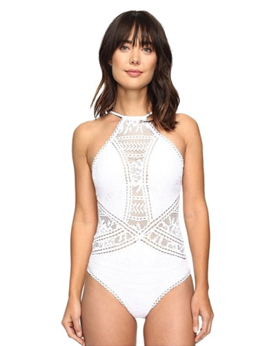 Becca by Rebecca Virtue Prairie Rose Halter One Piece Bride White Swimsuit (Swimwear style)