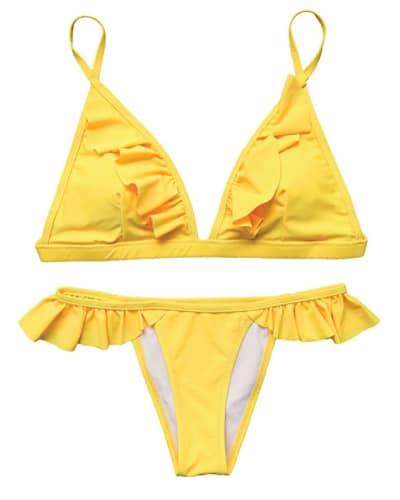 Yellow Lace Ruffle Bikini- Summer swimsuits trends