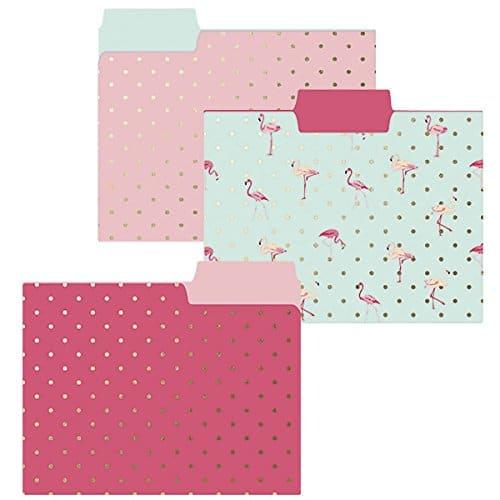 Flamingo Pink Folder Set. Back to school supplies.