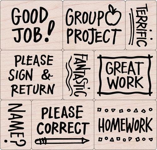 Woodblock Teachers Stamp Set (Back to school teacher gifts)
