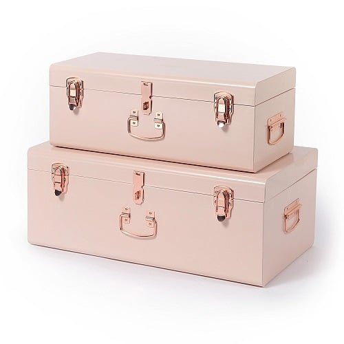 Vintage Style College Trunk. College supplies. Dorm room storage. Off to college gift ideas for girls.