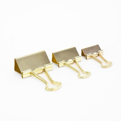 Chic Gold Binder Clips. Pretty school supplies. Back to school gifts for teachers.