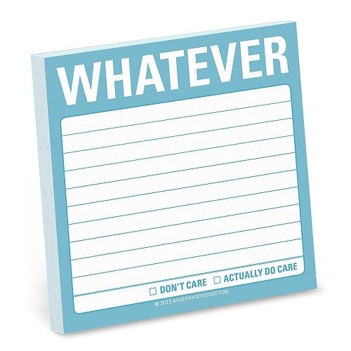 Whatever Sticky Note Pad. Back to school supplies high school. Back to school supplies for teens.