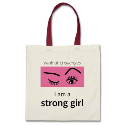 Strong Girl Bag. Canvas book bag with inspirational quote. School supplies.
