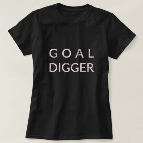 Goal Digger Inspirational Statement Tee with Pink Marble Pattern - Off to college gift ideas
