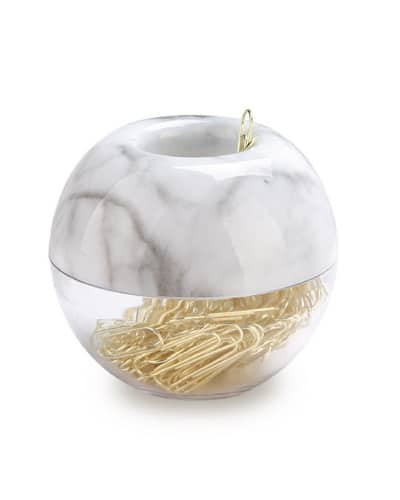 Gold Paper Clips in Marble Holder. Fancy school supplies. Back to school highschool.