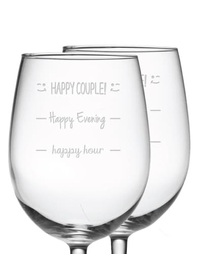 Happy Couple Funny Wine Glass Set - best wedding gift ideas for bride and groom