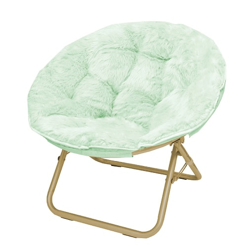 Mint Faux Fur Moon Chair. Dorm room decoration ideas.