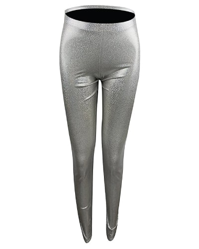 Silver Metallic Stretch Leggings. Unicorn outfits.