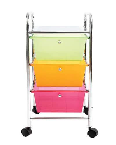 Multi-Color Drawer Rolling Storage Cart. Dorm room organization. Dorm room ideas.