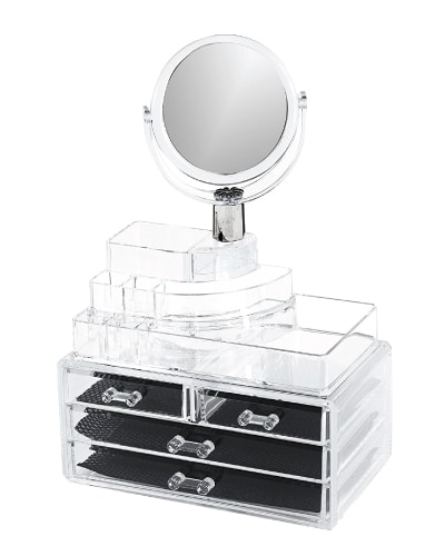 Makeup Organizer with Mirror. Dorm essentials. Dorm room ideas.