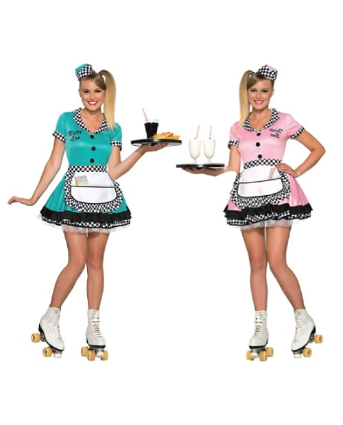 Betty Lou 50's Diner Waitress Costume. Twin Costumes for Teens. Halloween Group Costumes.