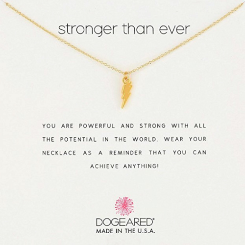 Dogeared Stronger Than Ever Lightning Bolt Pendant Necklace. Teen gifts. Christmas gifts for teens.