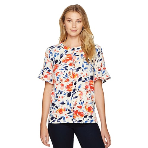 Lark & Ro Women's Flutter Sleeve Top