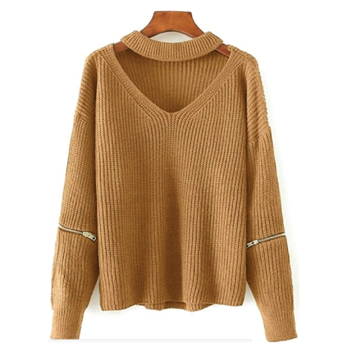 Halter Loose Knitted Chunky Choker Sweater. Fall outfits for women