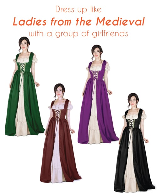 Renaissance Medieval Ladies Dress. Halloween costumes for teens. Group costumes with friends.