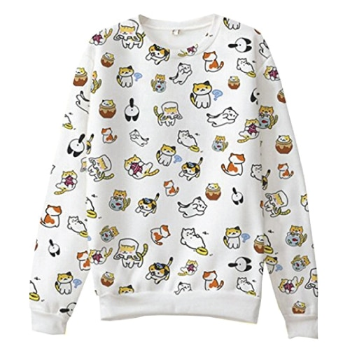 Neko Atsume Cat Sweater. Cat lover gifts. Sweater outfits for women.