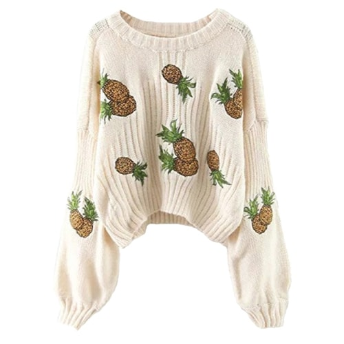 Pineapple Puff Sleeves Sweater. Fall outfits for teens.