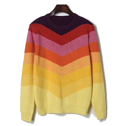 Rainbow Striped Crewneck Sweater. Fall outfits for teens. Sweater for fall.