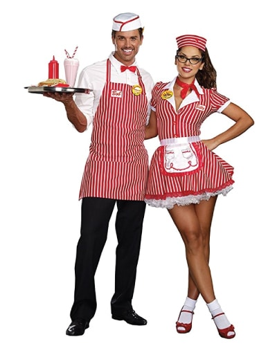 Retro 50's Diner Waiter and Waitress Couple Costume (Couple costume ideas for Halloween)