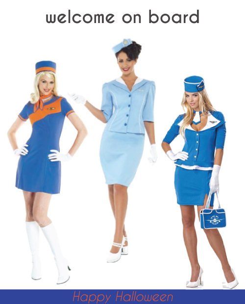 Retro Air Stewardess Costumes. Halloween costumes for teens. Group costume ideas.