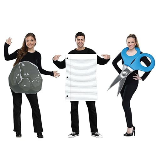 Rock, Paper, Scissors Costume. Group costumes ideas for Halloween.