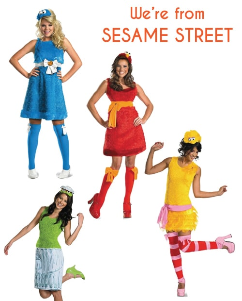 Sesame Street Costumes for a group of friends. Halloween group costumes for teens.
