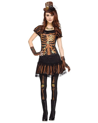 Skeleton plus steampunk style costume. Teen costumes for Halloween