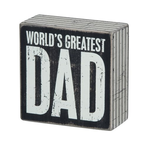 Primitives by Kathy World's Greatest Dad Box Sign. Christmas gifts for dad from kids.