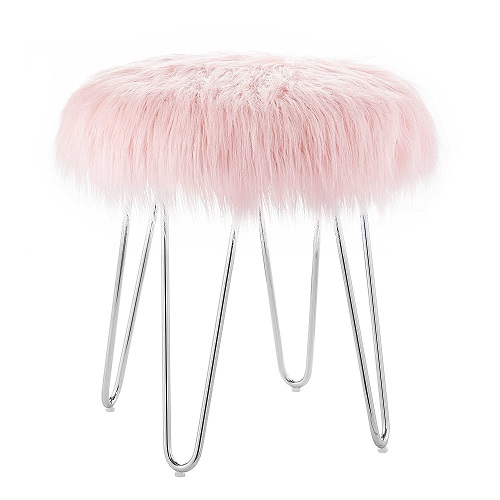 Pink Fur Ottoman Stool. Dorm room ideas for girls. College girl wishlist. Christmas gifts for college students.