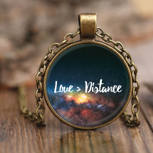 Love Is Greater than Distance Pendant Necklace (Long distance relationship gift ideas)
