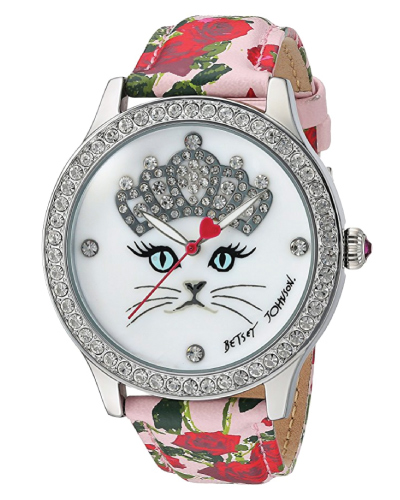 Betsey Johnson Cat Face Floral Watch