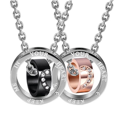 His & Hers Couple Necklace Set.Christmas gifts for long distance boyfriend