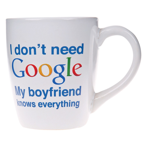 My Boyfriend Knows Everything Mug. Holiday gifts for boyfriend. Stocking stuffers for boyfriend.