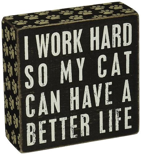 Cat Quote Wood Box Sign