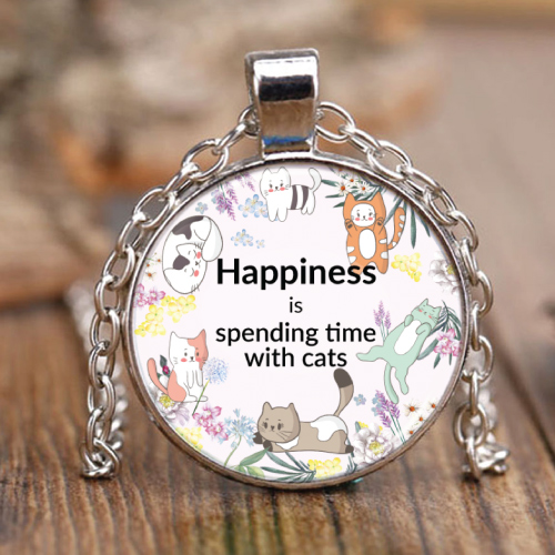Cat Lovers Happiness Necklace. Gifts for cat lady. Christmas gifts for cat lovers.