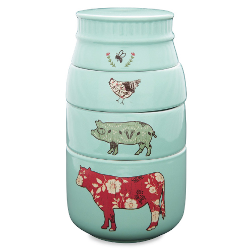 Farm Animal Measuring Cups. Mint kitchenware. Christmas gifts for mom.