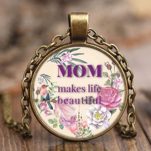 Mom Makes Life Beautiful Necklace. Gifts for mom.