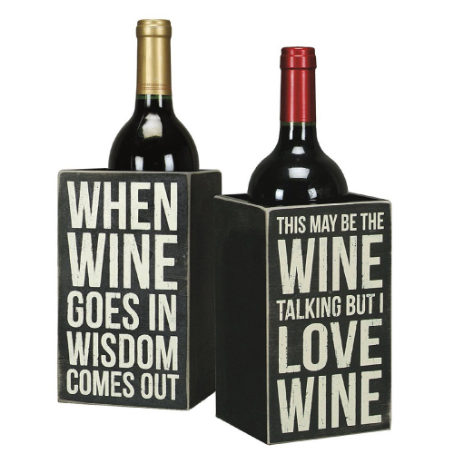 Funny Quotes Wine Box Holder. Mom gifts for Christmas holiday.