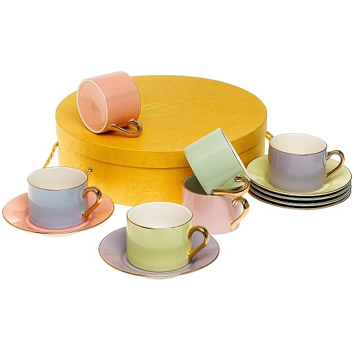 Colorful Tea Cups and Saucers